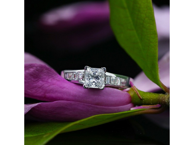 14k White Gold AGI Certified Engagement Ring with 1.60ct. TCW Diamonds