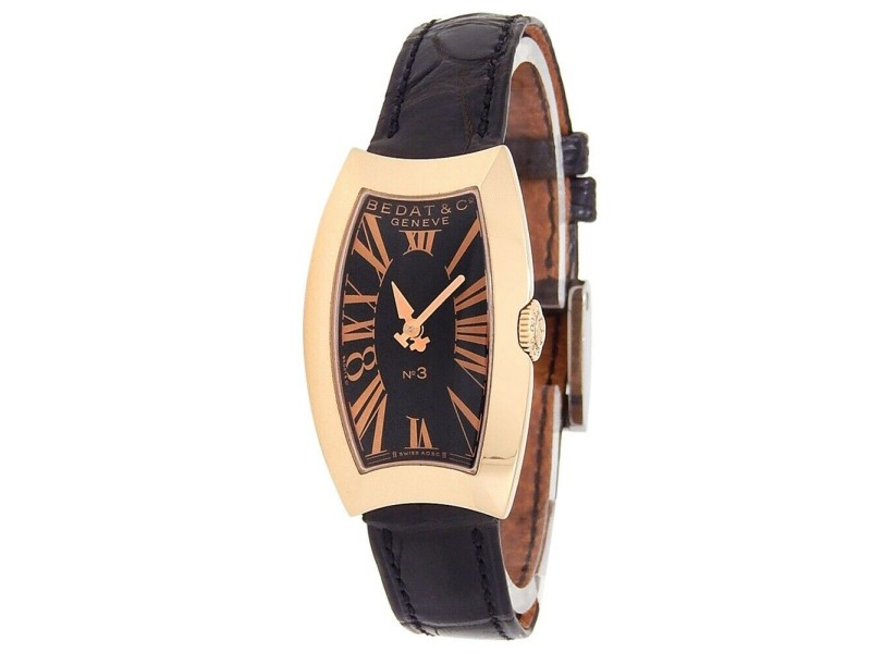 Bedat & Co No.3 18k Rose Gold Leather Quartz Black Ladies Watch 384.400.305