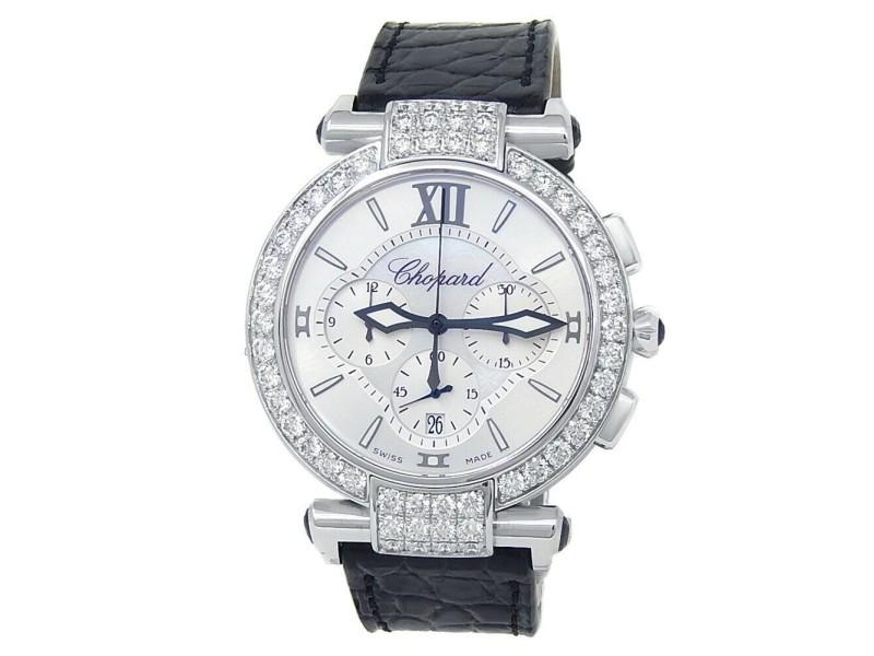Chopard Imperiale 18k White Gold Leather Quartz MOP Ladies Watch 384211-1001