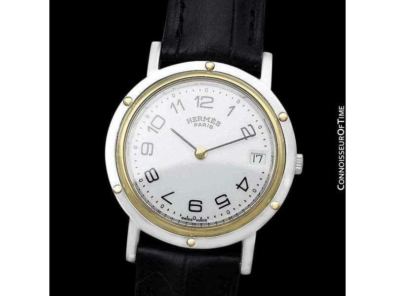 Hermes Mens Clipper 2-Tone SS Steel & 18K Gold Plated Watch - Mint with Warranty