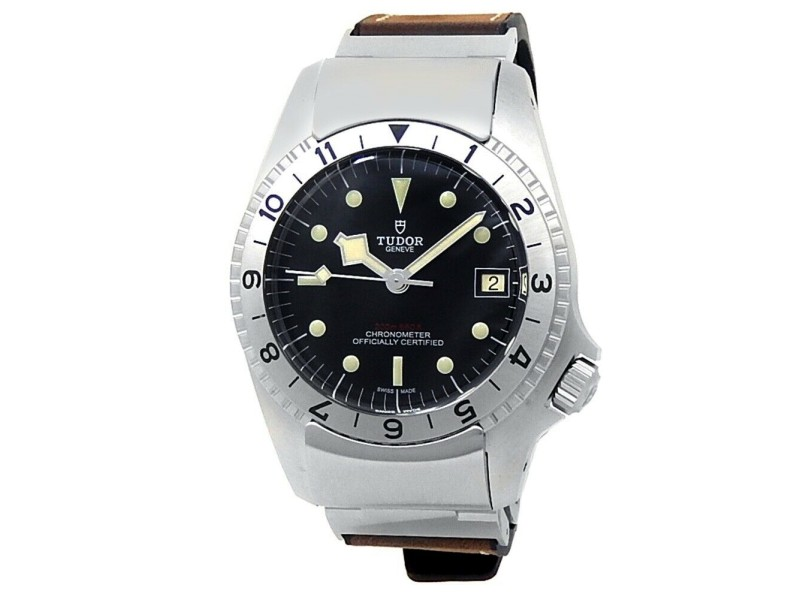 Tudor Black Bay P01 Stainless Steel Leather Rubber Auto Black Men's Watch 70150