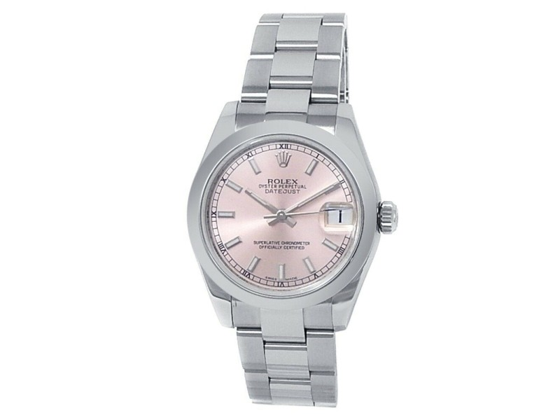 Rolex Datejust Stainless Steel Oyster Automatic Pink Midsize Watch
