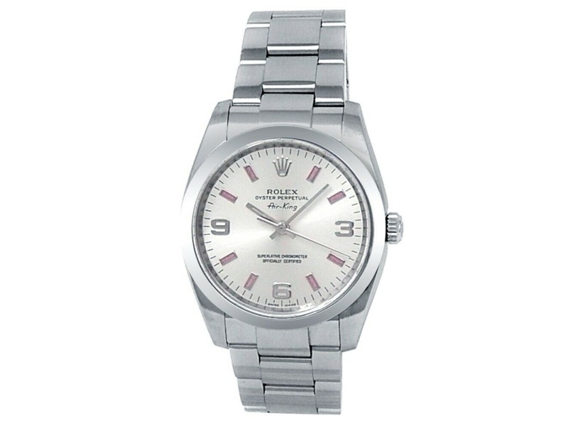 Rolex Oyster Perpetual Air-King Stainless Steel Auto Silver Men's Watch 114200