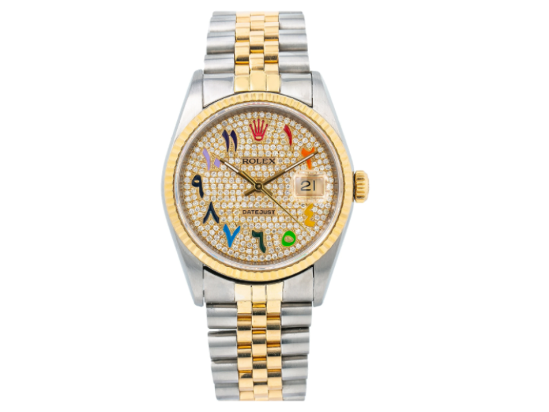 ROLEX DATEJUST 36MM STEEL AND GOLD WITH DIAMOND BEZEL DIAMOND DIAL JUBILEE 16233