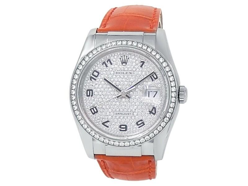Rolex Datejust 18k White Gold Orange Leather Diamonds Pave Men's Watch 116189