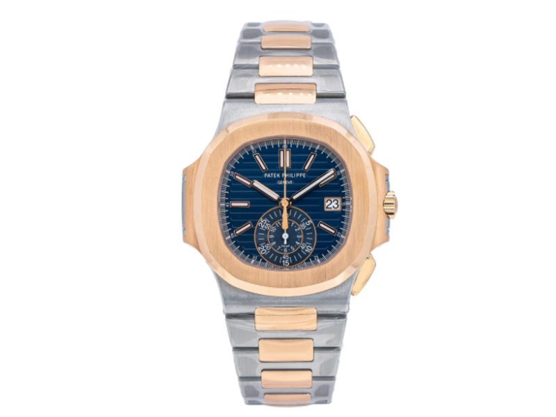 PATEK PHILIPPE NAUTILUS WATCH 5980/1AR BLUE DIAL STEEL AND ROSE GOLD