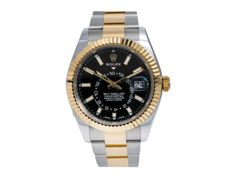 ROLEX SKY DWELLER WATCH 326933 STEEL AND YELLOW GOLD BLACK DIAL BOX AND CARD