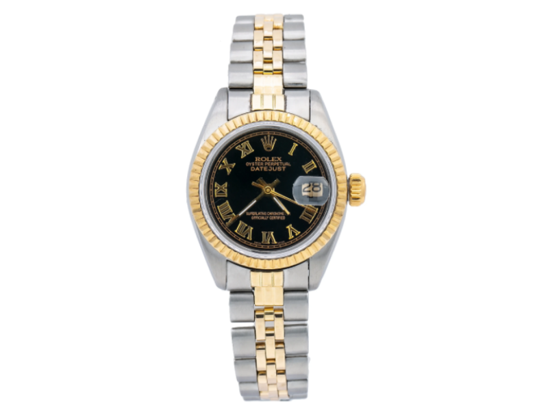 ROLEX LADY-DATEJUST 6917 26MM BLACK DIAL WITH TWO TONE JUBILEE BRACELET