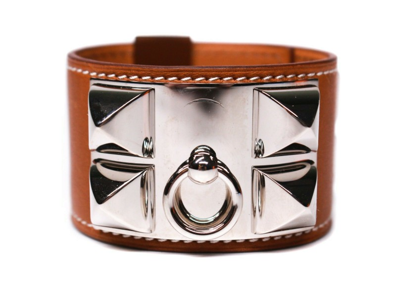 Hermes - New - CDC Bracelet - Silver Stud Tan Leather Wide Adjustable