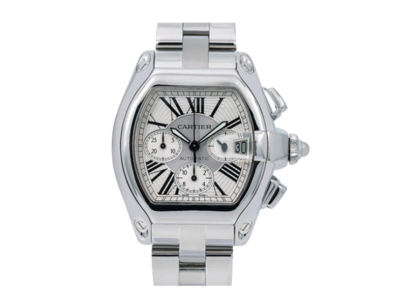 CARTIER ROADSTER CHRONOGRAPH WATCH W62019X6 XL SIZE SILVER DIAL STAINLESS STEEL