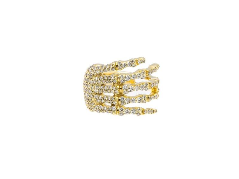 14k YELLOW GOLD DIAMOND RING SKULL HAND DIAMOND RING 2.90CT