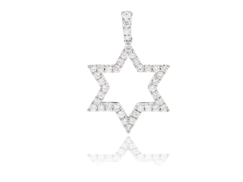 "UNISEX DIAMOND STAR OF DAVID PENDANT 18K WHITE GOLD 1.00CT DIAMOND 1.25"""