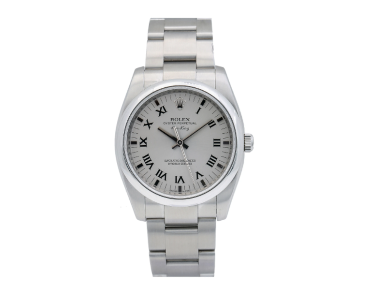ROLEX AIR-KING WATCH 34MM 114200 STAINLESS STEEL WHITE DIAL OUSTER BRACELET
