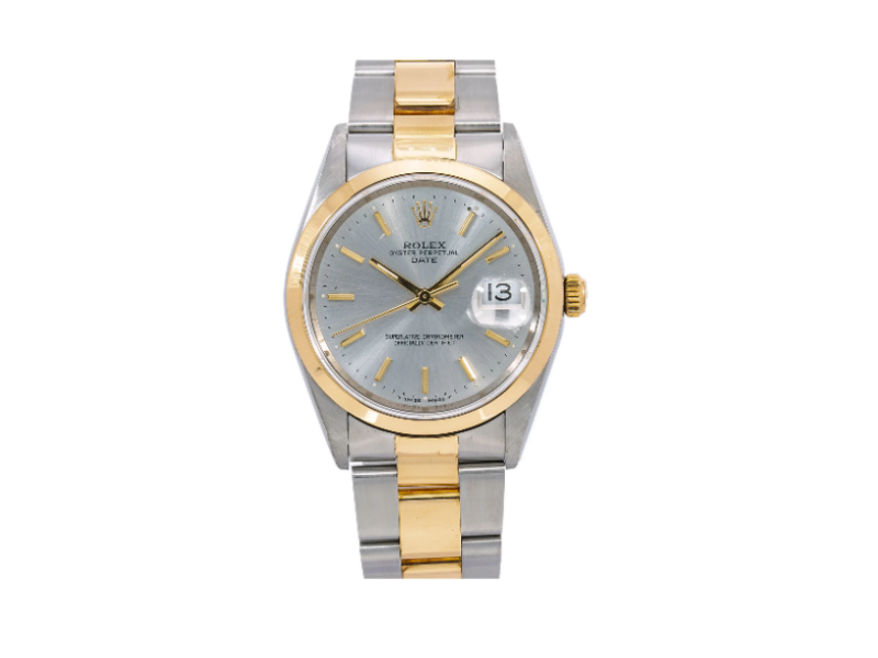 ROLEX DATE WATCH 15203 34MM STEEL AND YELLOW GOLD SILVER DIAL OYSTER BRACELET