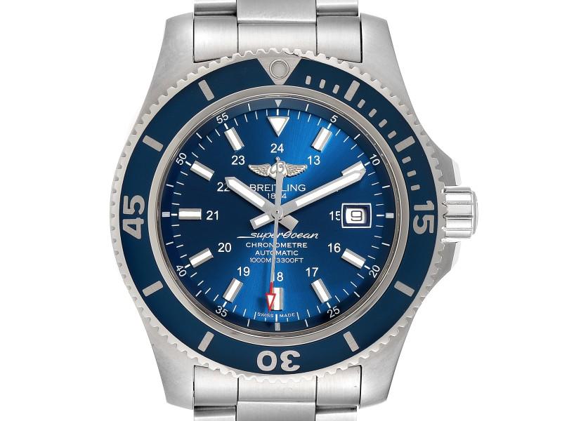 Breitling Superocean II 44 Gun Blue Dial Mens Watch A17392 Box Card