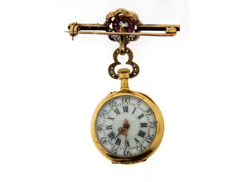 18k Rose Gold, Platinum, Ruby & Diamond Watch/Pin