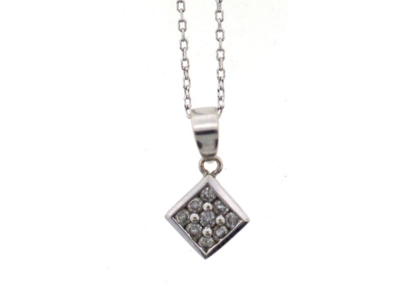 14K White Gold & Diamond Necklace
