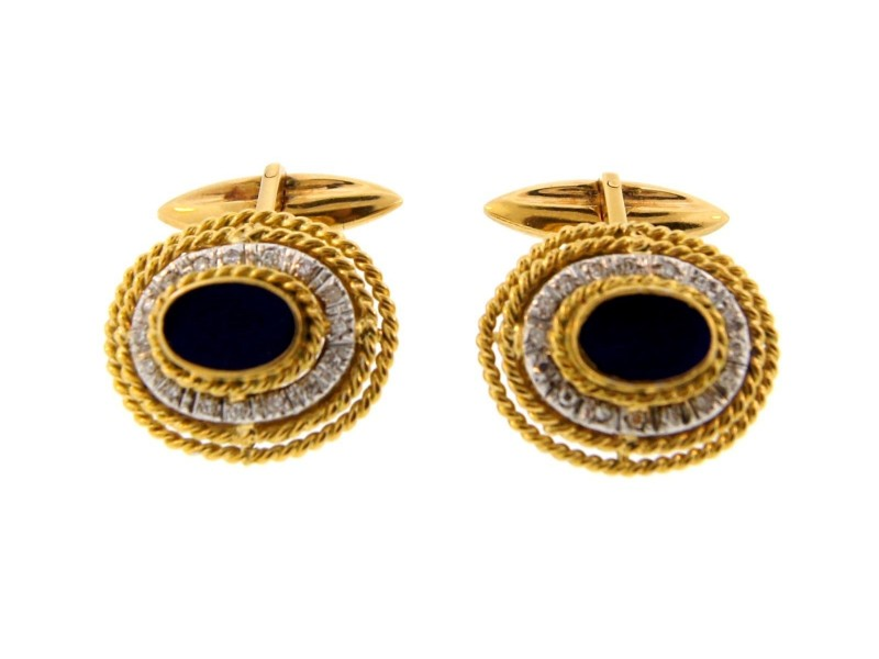 18K Yellow Gold Lapis & Diamond Cufflinks