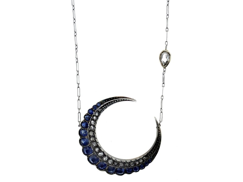 Platinum, Sapphire & Rose Cut Diamond Crescent Necklace