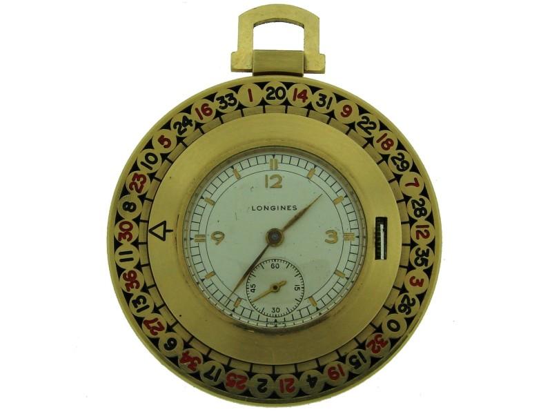 Vintage Longines Yellow Gold Enamel Roulette Pocket 1940S Watch