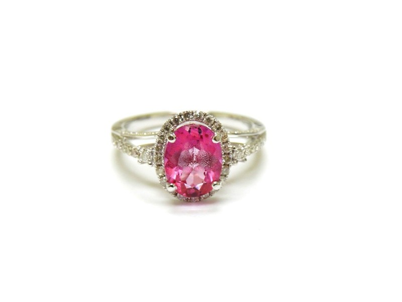 14K White Gold Gem Pink Topaz And Diamond Cocktail Ring