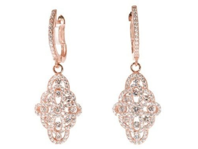 18k Rose Gold Sterling Silver White Sapphire Chandelier Earrings