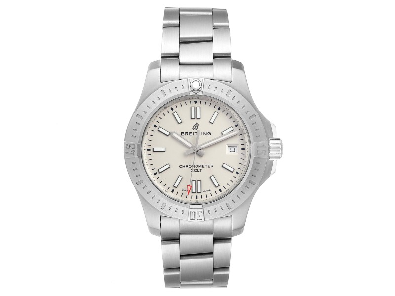 Breitling Colt White Dial Automatic Steel Mens Watch A17313 Box
