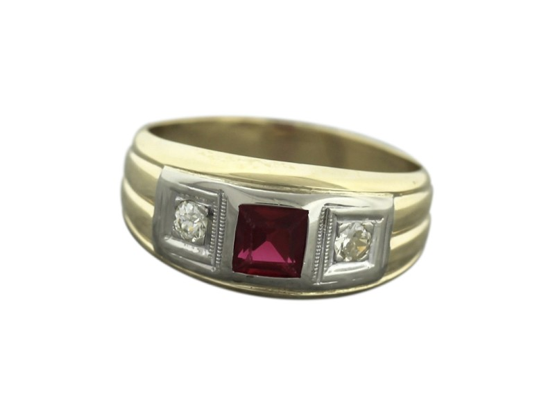 14K Yellow Gold Diamond, Ruby Ring Size 9