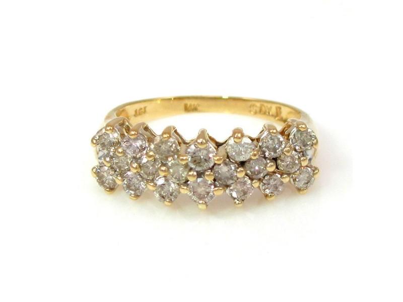 K yellow gold ctw diamond row anniversary ring size