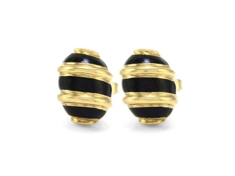 Tiffany & Co Schlumberger Olive earrings in 18k gold with blue enamel Tiffany & Co. BnW2aLm