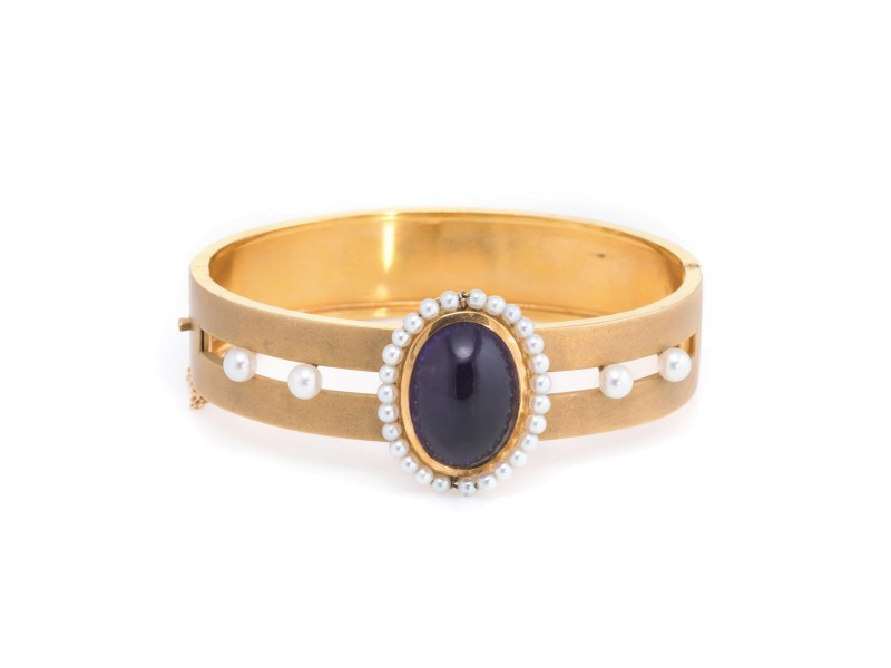 Vintage Deco 14K Yellow Gold with 11.50ct Amethyst and Pearl Bangle Bracelet