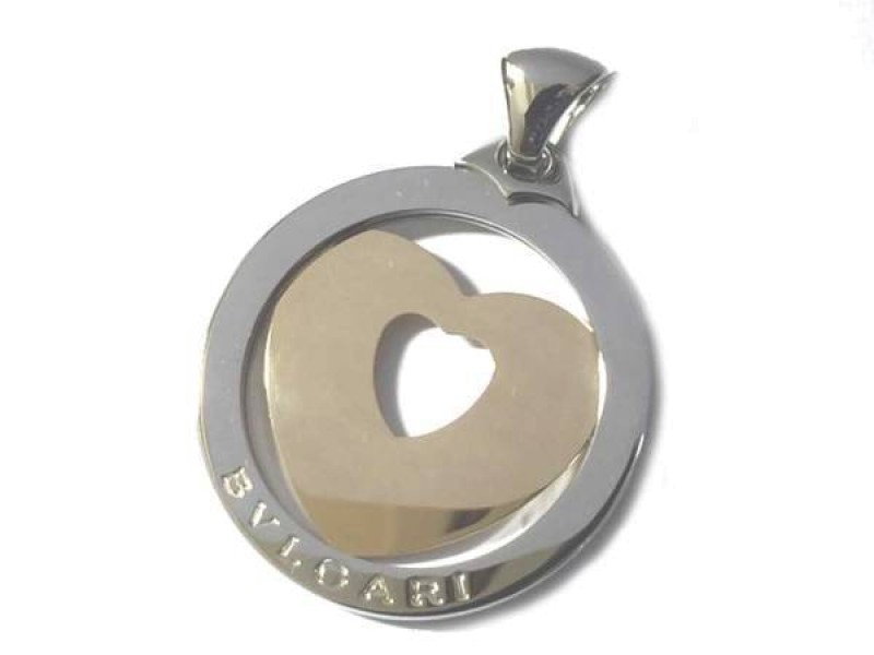Bulgari Stainless Steel 18K Yellow Gold Heart Pendant