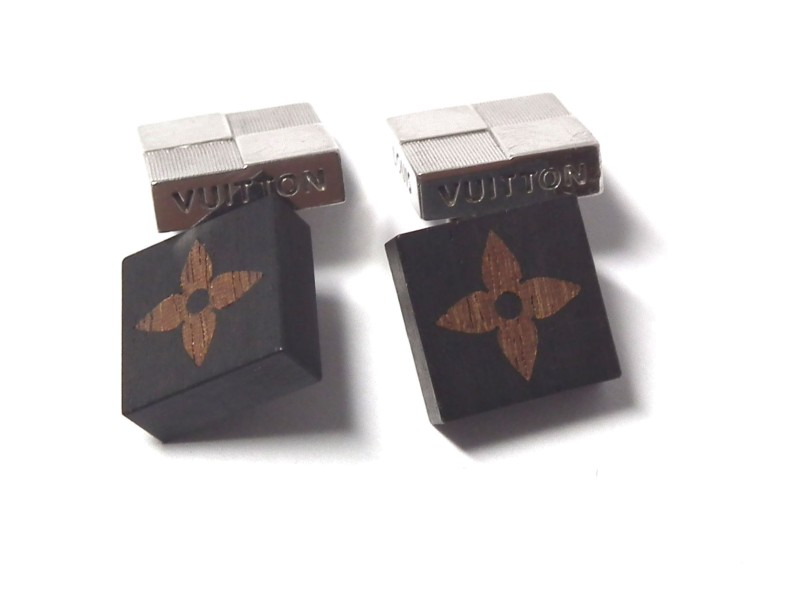 Louis Vuitton Damier Silver Tone Wooden Cufflinks