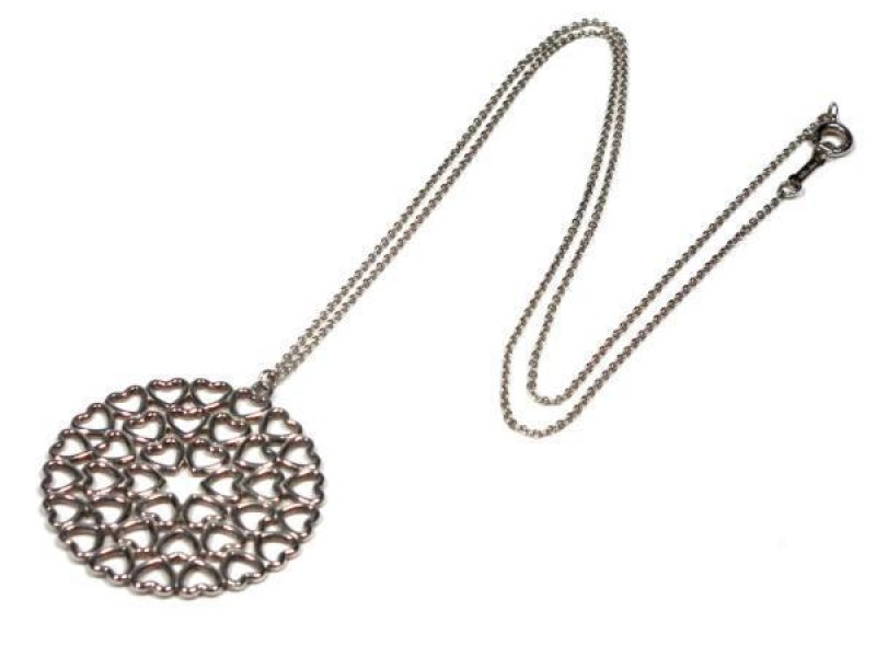 Tiffany & Co. 925 Sterling Silver Crown of Hearts Medallion Necklace