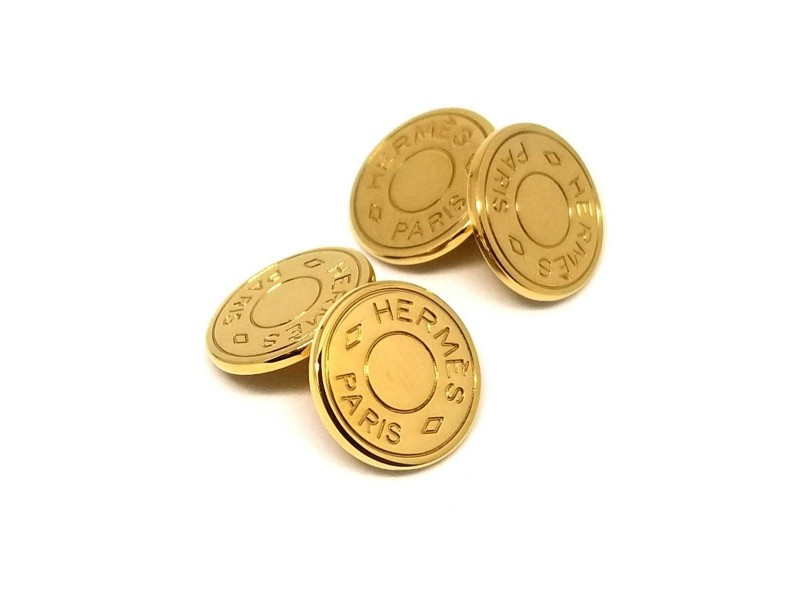 Hermes Gold Tone Cufflinks