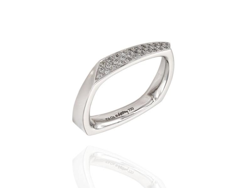 Tiffany & Co. Frank 18K White Gold Diamond Ring Size 7.25