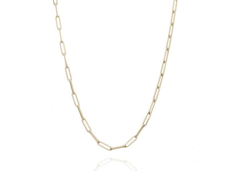 8KY Rectangular Link Chain Necklace 28 IN