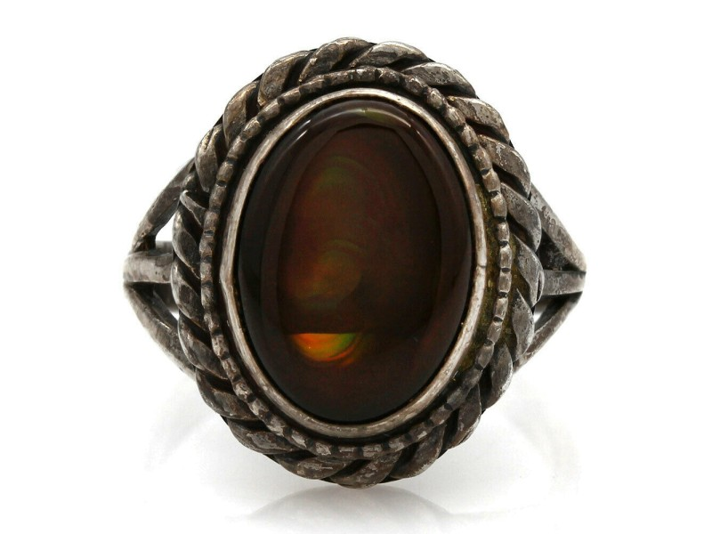 Navajo Sterling Silver & Fire Agate Ring
