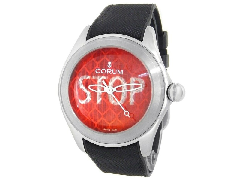 Corum Bubble Stop Stainless Steel Rubber Automatic Red Men's Watch L082/03207