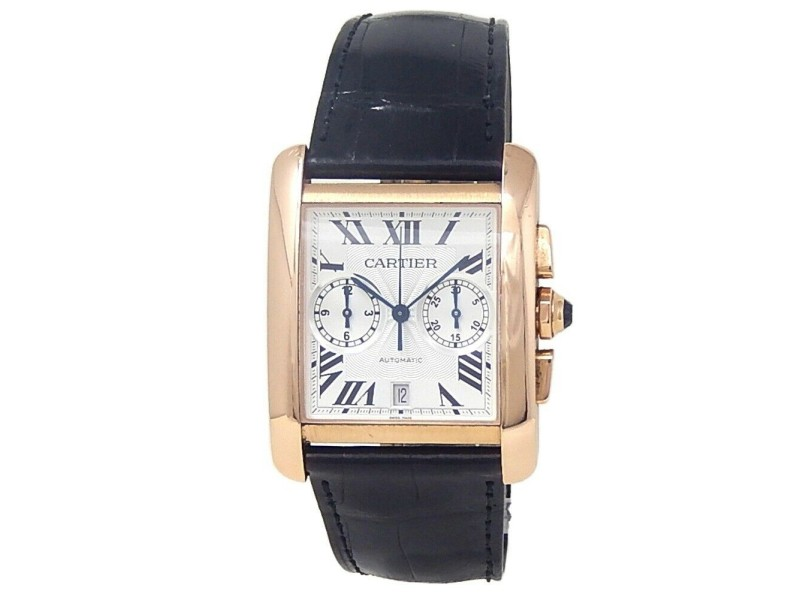 Cartier Tank MC 18k Rose Gold Leather Automatic Silver Men's Watch W5330005