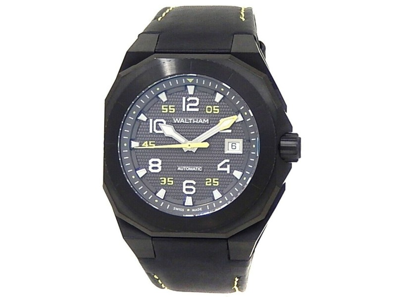 Waltham AeroNaval Black Stainless Steel Leather Auto Black Men's Watch AN-01