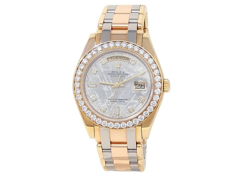 Rolex Day-Date 18k Tridor Yellow Gold Pearlmaster Diamonds Meteorite Watch 19848