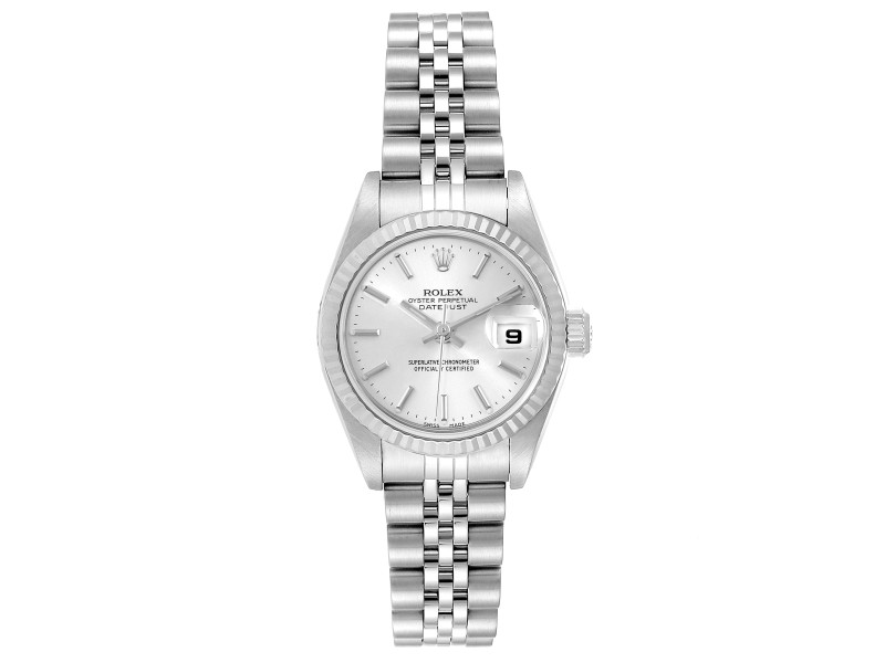Rolex Datejust 26 Steel White Gold Silver Dial Ladies Watch 79174