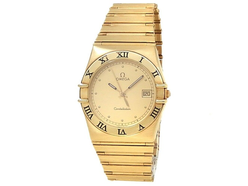 Omega Constellation 18k Yellow Gold Quartz Champagne Ladies Watch