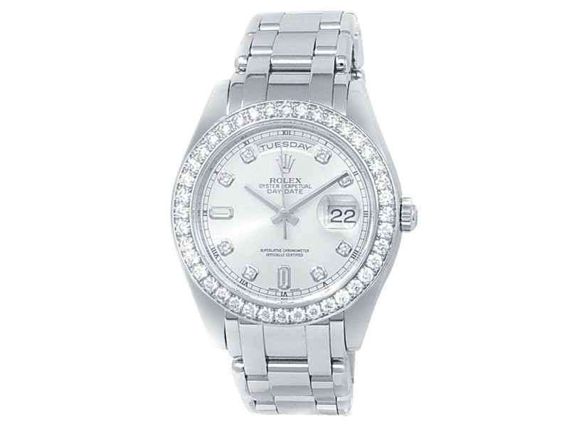 Rolex Day-Date Pearlmaster Platinum Automatic Diamonds Silver Men's Watch