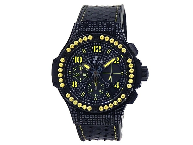 Hublot Big Bang Fluo Stainless Steel Black Diamonds Watch