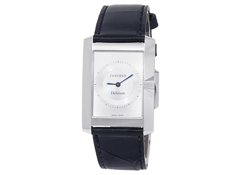 Concord Delirium 18k White Gold Leather Quartz Silver Men's Watch