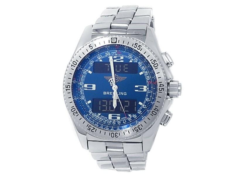 Breitling B-1 Stainless Steel Quartz Analog-Digital Blue Men's Watch