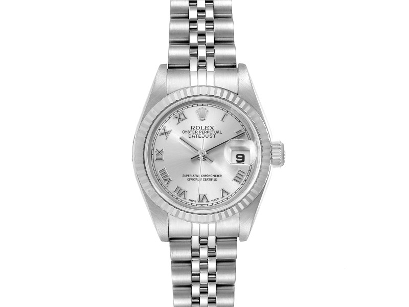 Rolex Datejust Steel White Gold Silver Dial Ladies Watch 79174 Box Papers