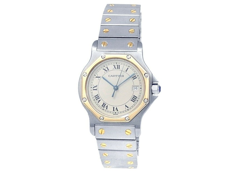 Cartier Santos Ronde Octagon 18k Yellow Gold Steel Silver Ladies Watch